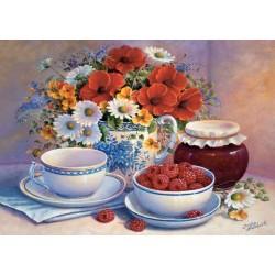 Zátiší květiny a maliny