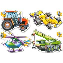 Puzzle sada 4v1 - Technika II (Jeřáb, traktor, vrtulník, formule)
