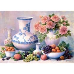 Zátiší růže s ovocem